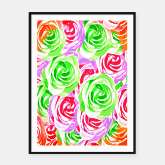 colorful rose pattern abstract in red pink green Framed poster thumbnail image