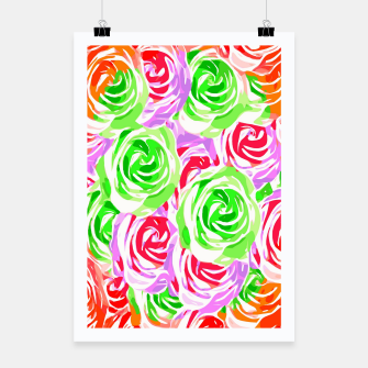 colorful rose pattern abstract in red pink green Poster thumbnail image