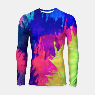 painting texture abstract background in blue pink yellow green Longsleeve rashguard  thumbnail image