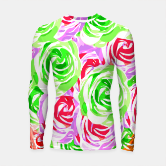 colorful rose pattern abstract in red pink green Longsleeve rashguard  thumbnail image