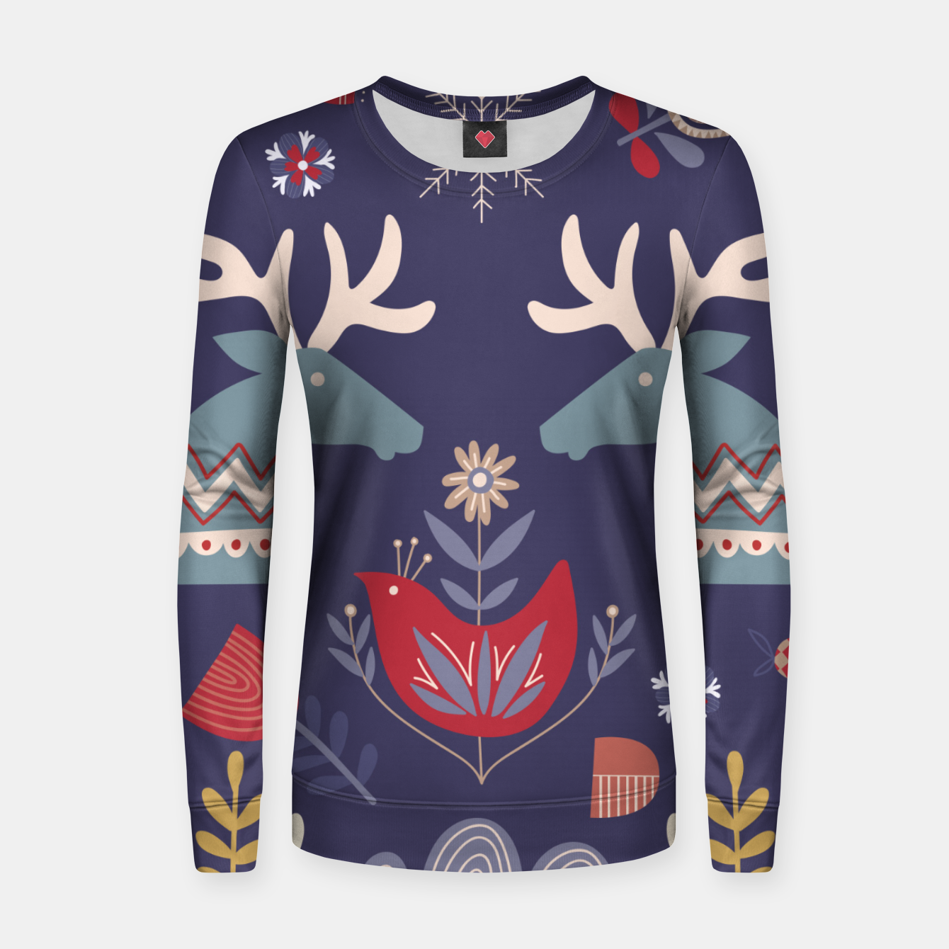Image of REINDEER AND FLOWERS Women sweater - Live Heroes