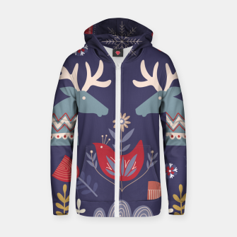 REINDEER AND FLOWERS Zip up hoodie thumbnail image