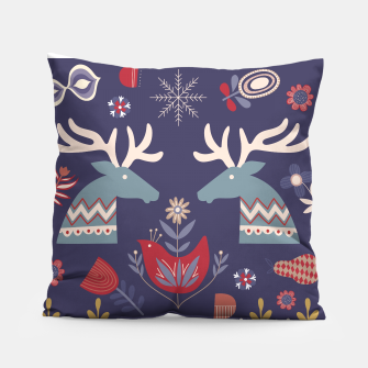 REINDEER AND FLOWERS Pillow thumbnail image