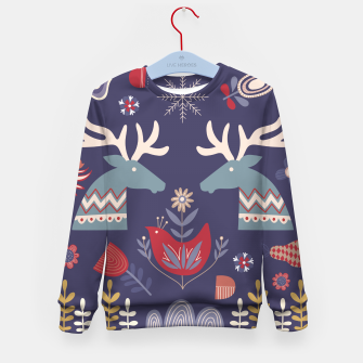 REINDEER AND FLOWERS Kid's sweater Bild der Miniatur