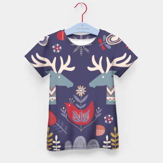 REINDEER AND FLOWERS Kid's t-shirt Bild der Miniatur