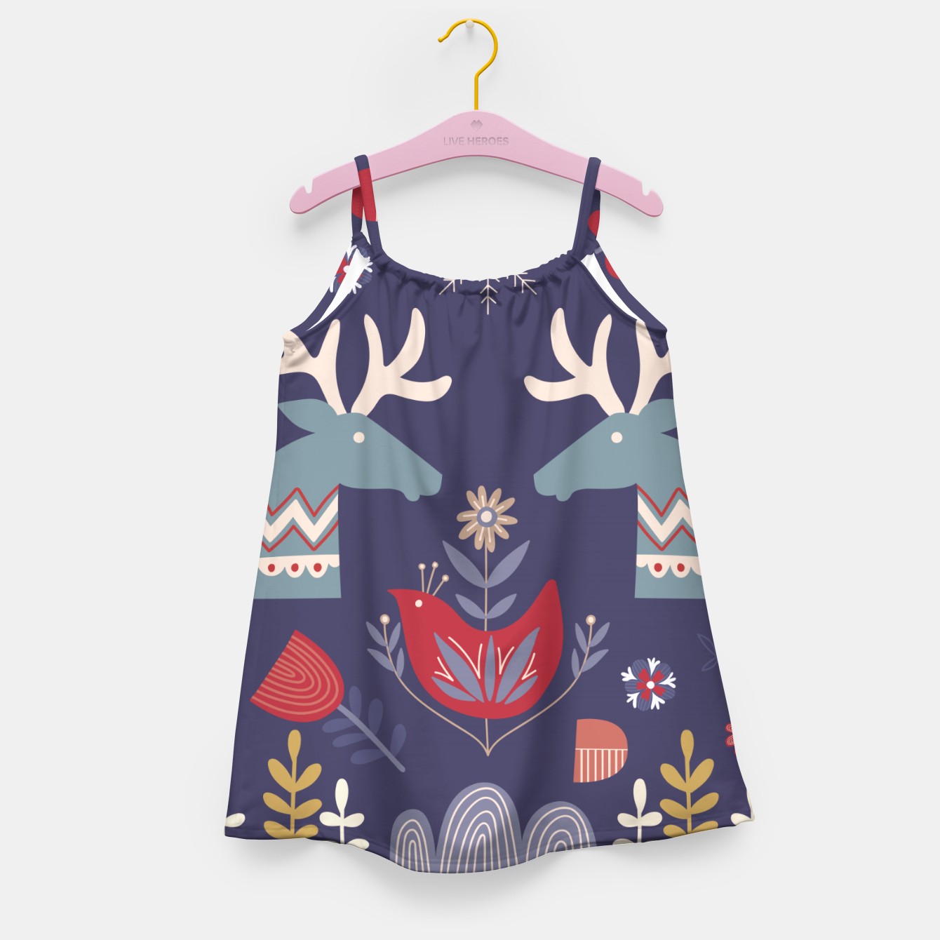 Image of REINDEER AND FLOWERS Girl's dress - Live Heroes