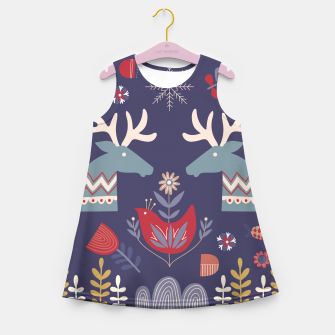 Miniatur REINDEER AND FLOWERS Girl's summer dress, Live Heroes