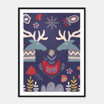 Miniatur REINDEER AND FLOWERS Framed poster, Live Heroes
