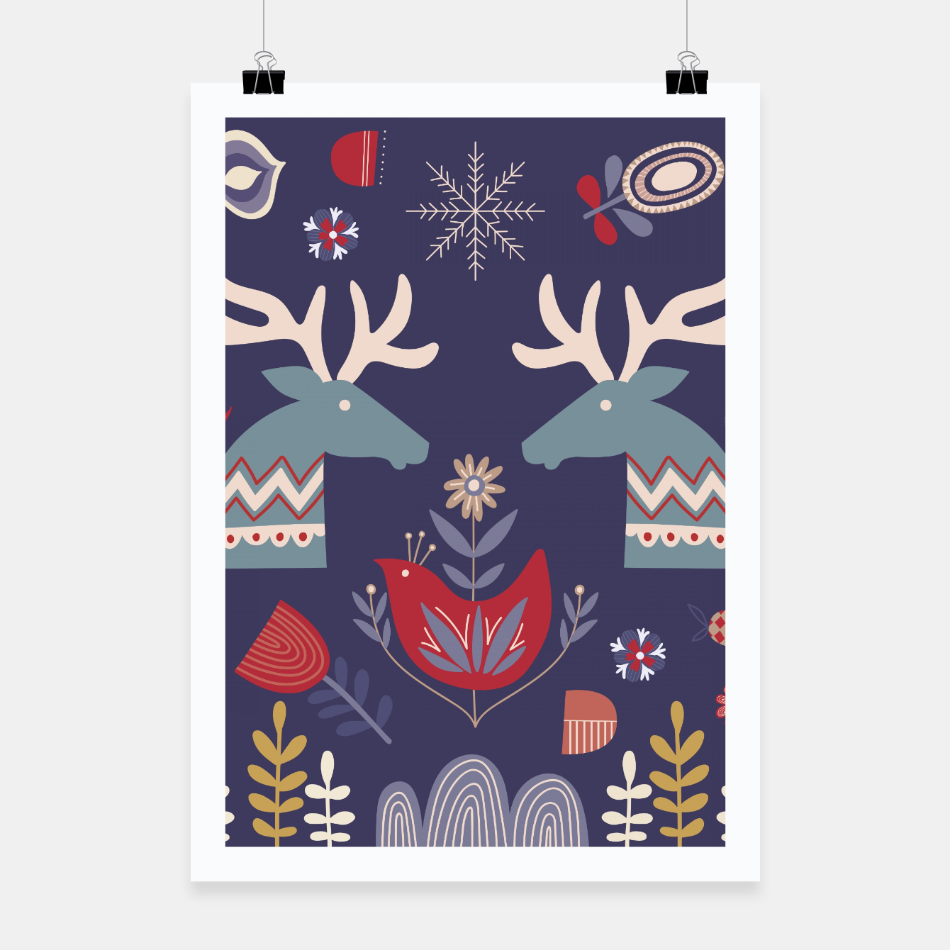 Image of REINDEER AND FLOWERS Poster - Live Heroes