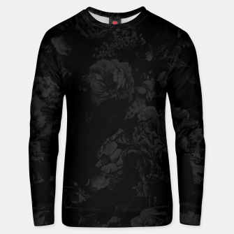 winter flowers seamless pattern 01 big dark black white Unisex sweater thumbnail image