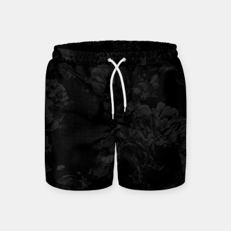 winter flowers seamless pattern 01 big dark black white Swim Shorts thumbnail image