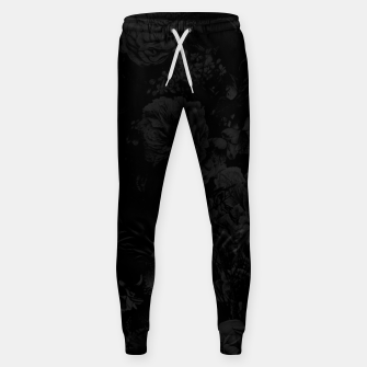 winter flowers seamless pattern 01 big dark black white Sweatpants thumbnail image