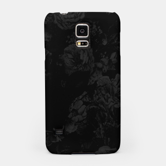 winter flowers seamless pattern 01 big dark black white Samsung Case thumbnail image