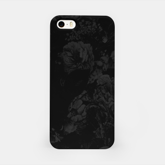 winter flowers seamless pattern 01 big dark black white iPhone Case thumbnail image