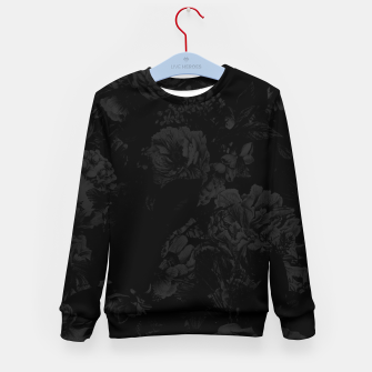 winter flowers seamless pattern 01 big dark black white Kid's sweater thumbnail image