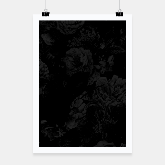 winter flowers seamless pattern 01 big dark black white Poster thumbnail image