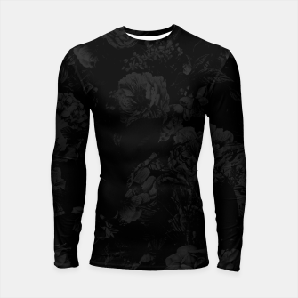 winter flowers seamless pattern 01 big dark black white Longsleeve rashguard  thumbnail image