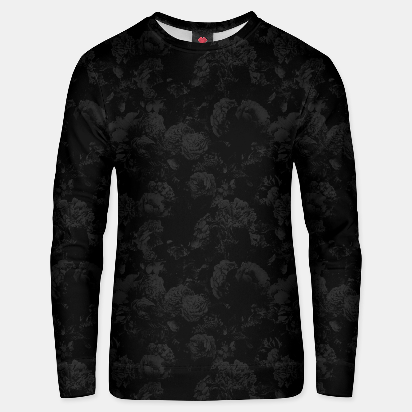 Image of winter flowers seamless pattern 01 small dark black white Unisex sweater - Live Heroes