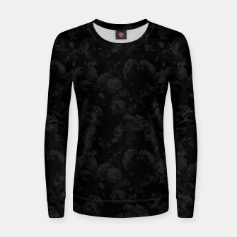winter flowers seamless pattern 01 small dark black white Women sweater thumbnail image