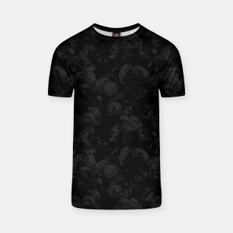 winter flowers seamless pattern 01 small dark black white T-shirt thumbnail image