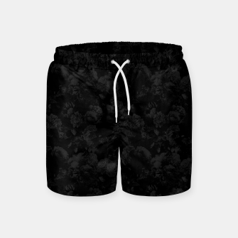 winter flowers seamless pattern 01 small dark black white Swim Shorts thumbnail image