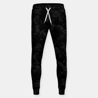 winter flowers seamless pattern 01 small dark black white Sweatpants thumbnail image