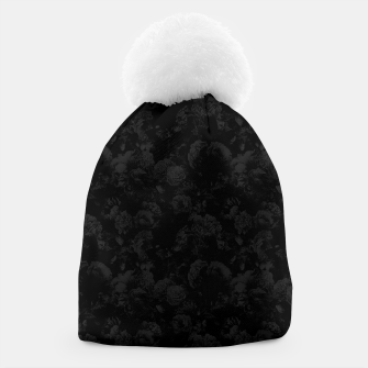winter flowers seamless pattern 01 small dark black white Beanie thumbnail image