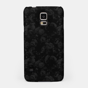 winter flowers seamless pattern 01 small dark black white Samsung Case thumbnail image