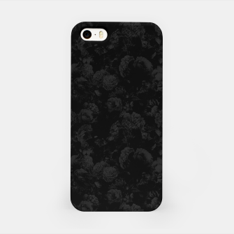winter flowers seamless pattern 01 small dark black white iPhone Case thumbnail image