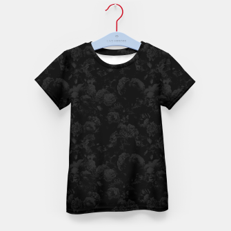 winter flowers seamless pattern 01 small dark black white Kid's t-shirt thumbnail image