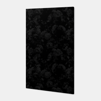 winter flowers seamless pattern 01 small dark black white Canvas thumbnail image
