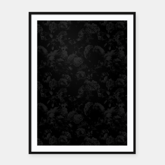 winter flowers seamless pattern 01 small dark black white Framed poster thumbnail image