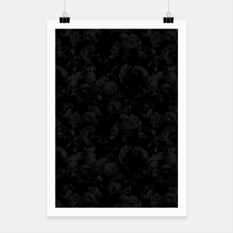 winter flowers seamless pattern 01 small dark black white Poster thumbnail image