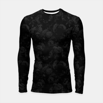 winter flowers seamless pattern 01 small dark black white Longsleeve rashguard  thumbnail image