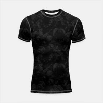 winter flowers seamless pattern 01 small dark black white Shortsleeve rashguard thumbnail image
