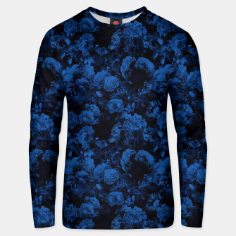winter flowers seamless pattern 01 small dark blue Unisex sweater thumbnail image