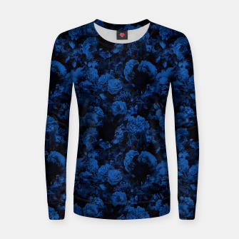 winter flowers seamless pattern 01 small dark blue Women sweater thumbnail image