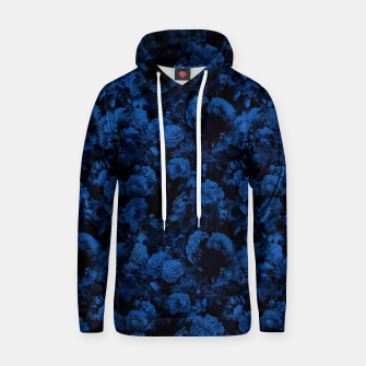 winter flowers seamless pattern 01 small dark blue Hoodie thumbnail image