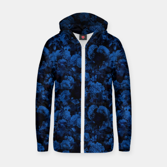 winter flowers seamless pattern 01 small dark blue Zip up hoodie thumbnail image