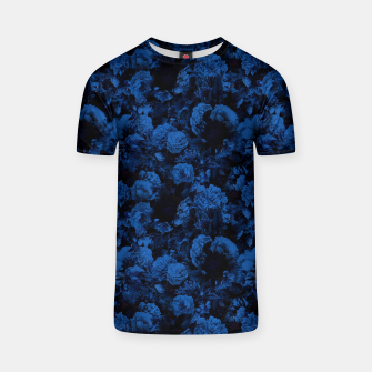 winter flowers seamless pattern 01 small dark blue T-shirt thumbnail image