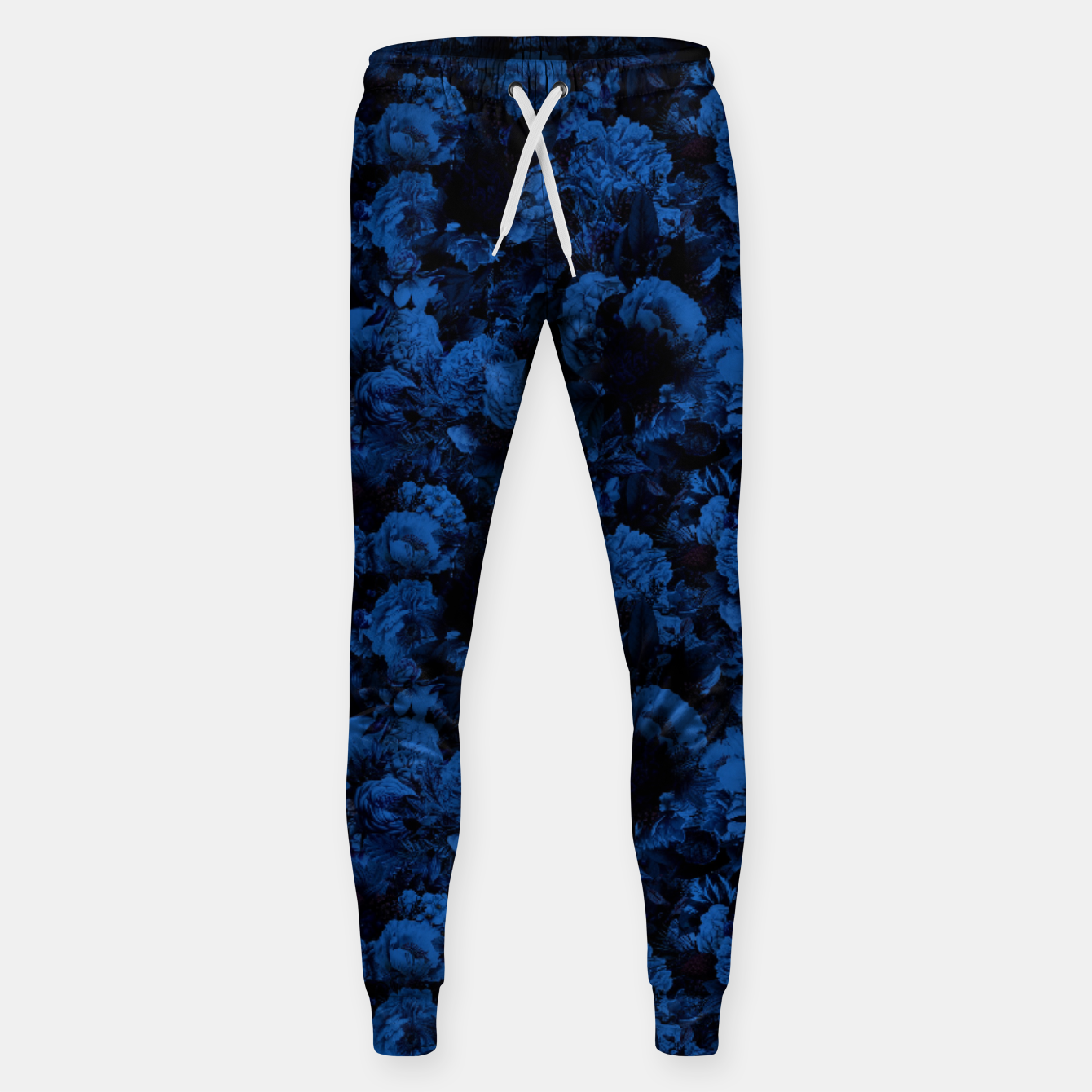 Image of winter flowers seamless pattern 01 small dark blue Sweatpants - Live Heroes