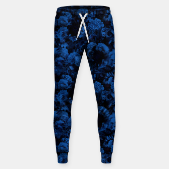 winter flowers seamless pattern 01 small dark blue Sweatpants thumbnail image