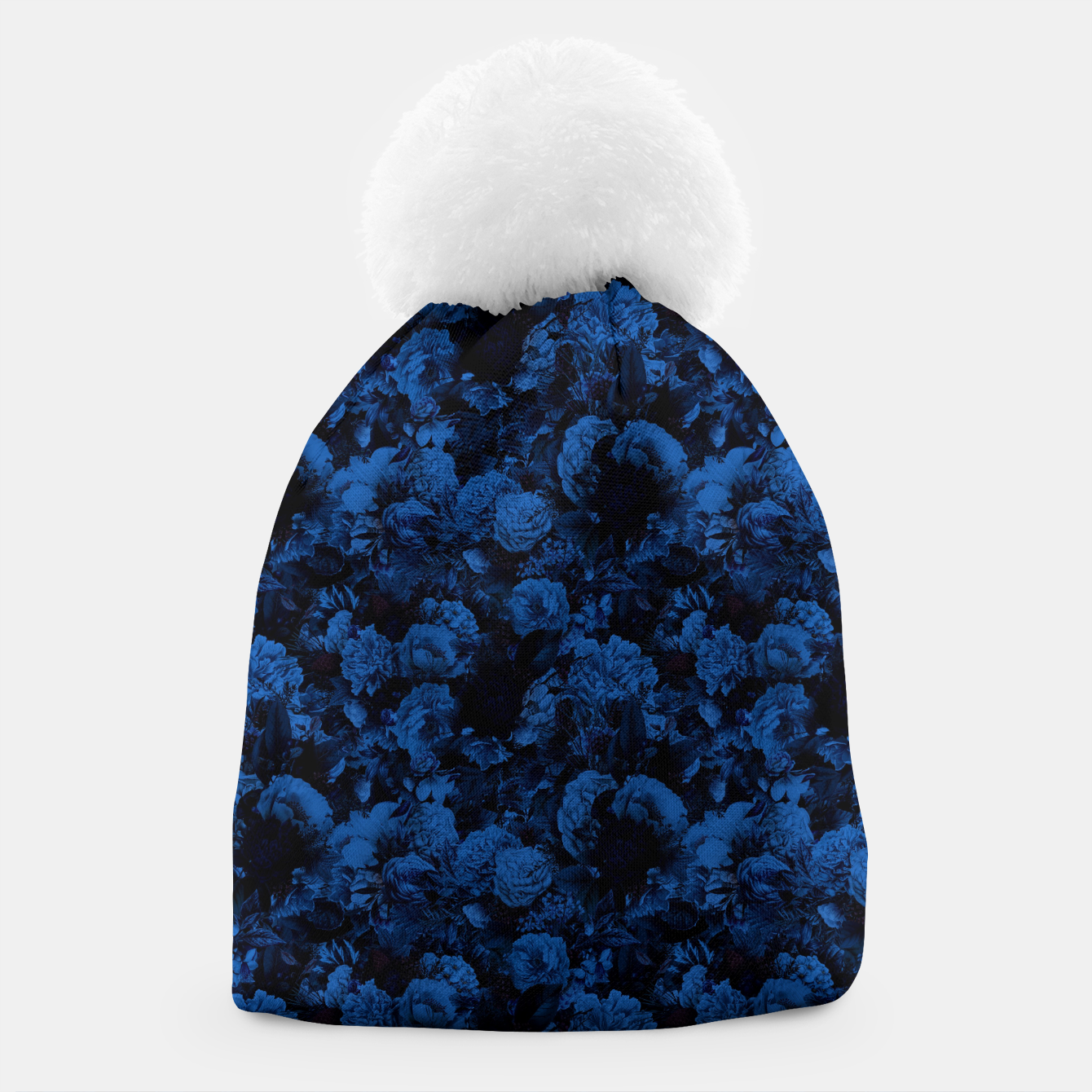 Image of winter flowers seamless pattern 01 small dark blue Beanie - Live Heroes