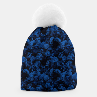 winter flowers seamless pattern 01 small dark blue Beanie thumbnail image