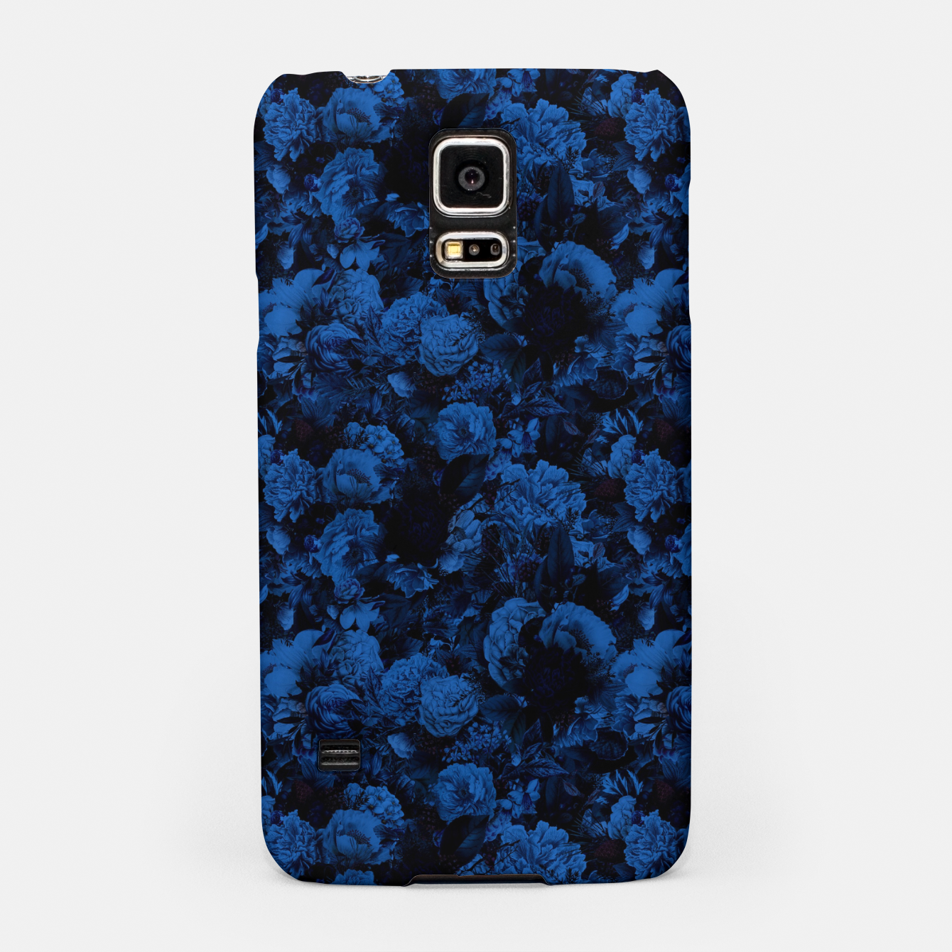 Image of winter flowers seamless pattern 01 small dark blue Samsung Case - Live Heroes