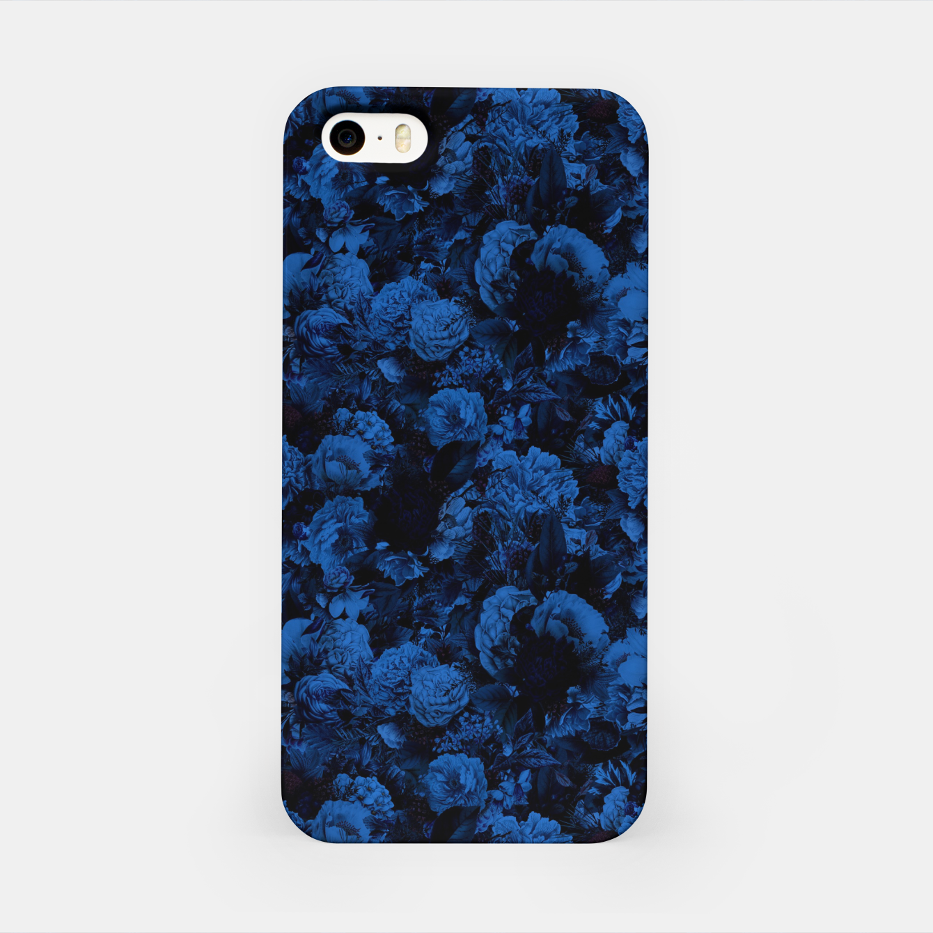 Image of winter flowers seamless pattern 01 small dark blue iPhone Case - Live Heroes