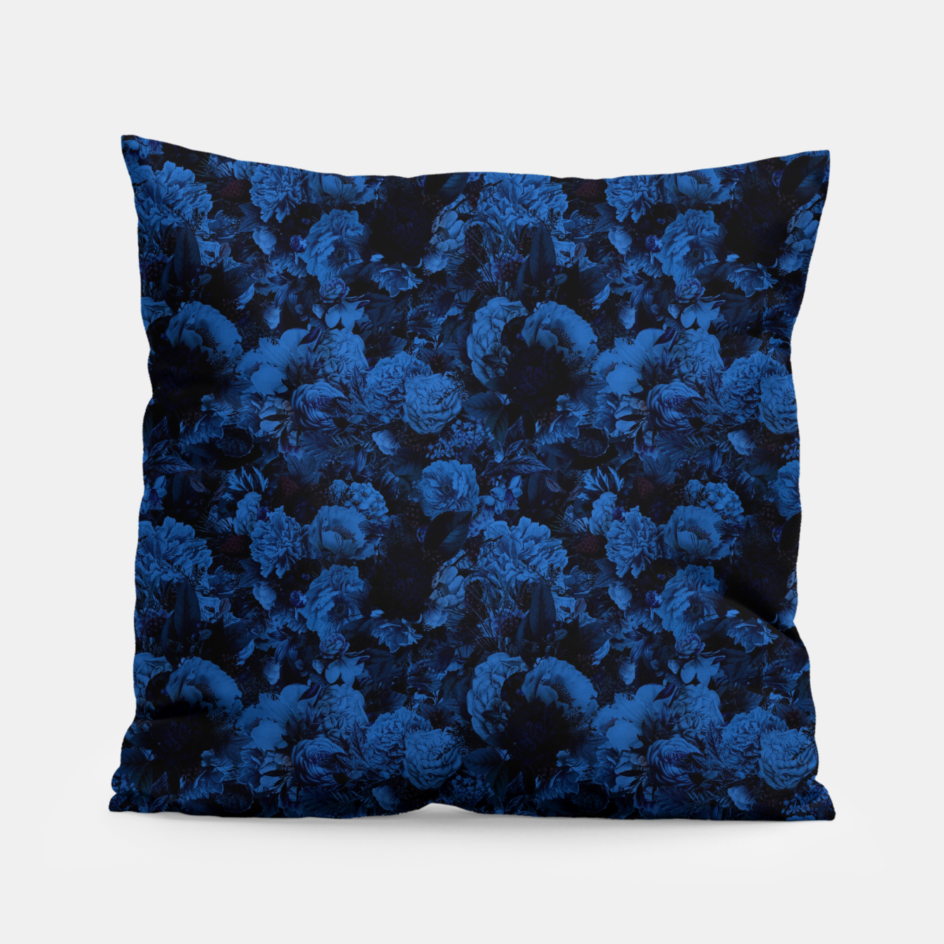 Image of winter flowers seamless pattern 01 small dark blue Pillow - Live Heroes