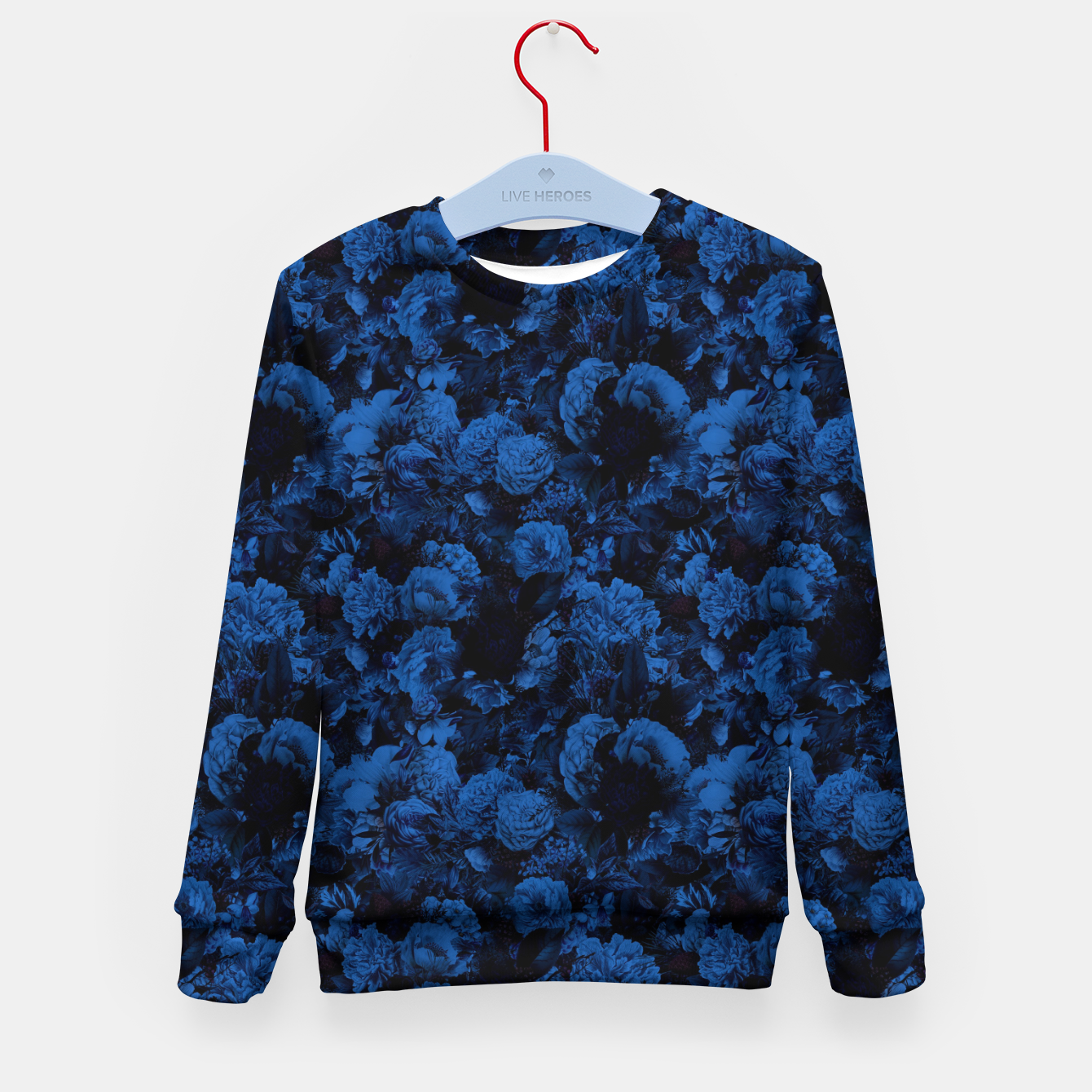 Image of winter flowers seamless pattern 01 small dark blue Kid's sweater - Live Heroes