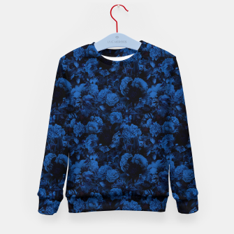 winter flowers seamless pattern 01 small dark blue Kid's sweater thumbnail image