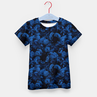 winter flowers seamless pattern 01 small dark blue Kid's t-shirt thumbnail image